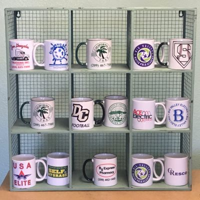 Shelf full of mugs
